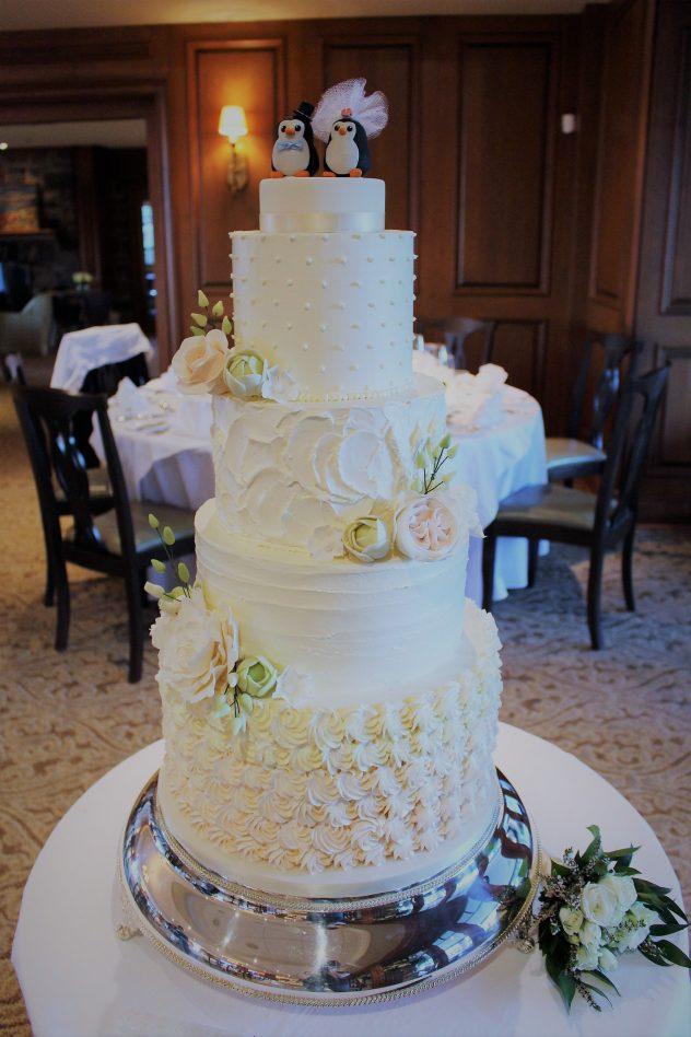 ombre rosette buttercream wedding cake