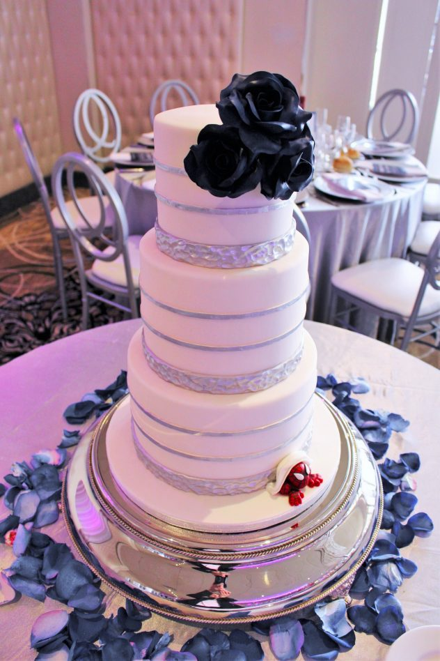 silver and navy wedding cake