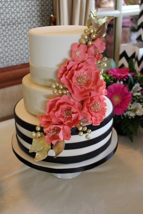 wedding cake with black and white stripes