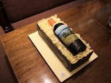 Wine Bottle Cake in a crate