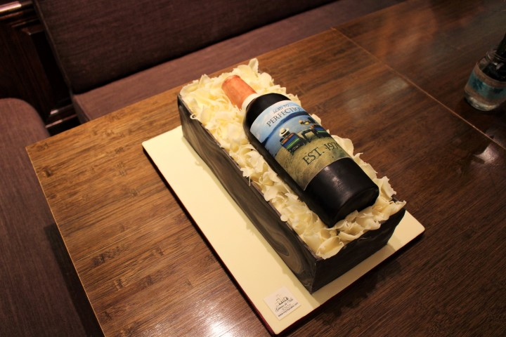 Wine bottle in crate cake, Ariel Bistro & Bar. My City Cake